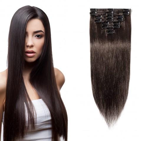 Clip in vlasy 51 cm 100% ľudské - Remy 100 g - odtieň 2 - tmavo hnedá