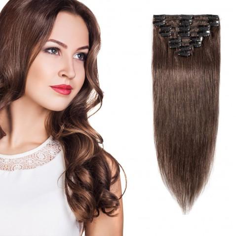 Clip in vlasy 51 cm 100% ľudské - Remy 100 g - odtieň 4 - stredne hnedá