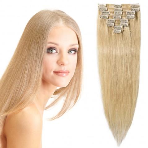 Clip in vlasy 51 cm 100% ľudské - Remy 100 g - odtieň 613 - blond
