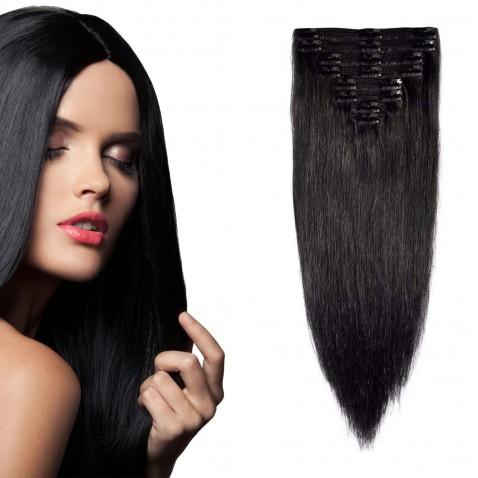 Clip in vlasy 51 cm 100% ľudské - Remy 100 g - odtieň 1# - uhľovo čierna