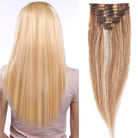 Clip in vlasy 51 cm 100% ľudské - Remy 100 g - odtieň 18/613 - mix blond