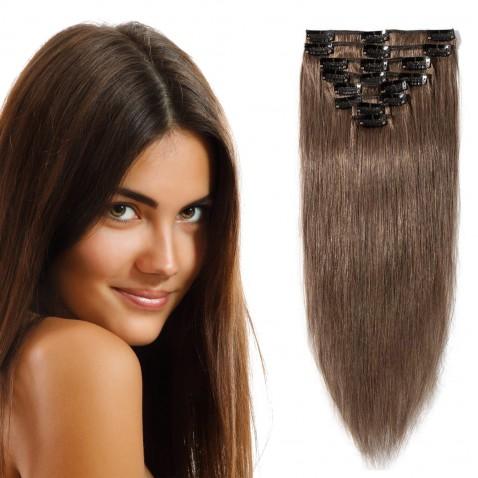 Clip in vlasy 55 cm 100% ľudské - Remy 100 g - odtieň 6 - stredne hnedá