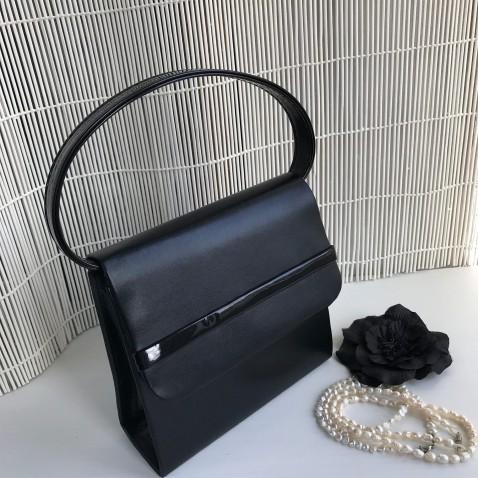 Plesová kabelka - imitácia kože a latex - čierna