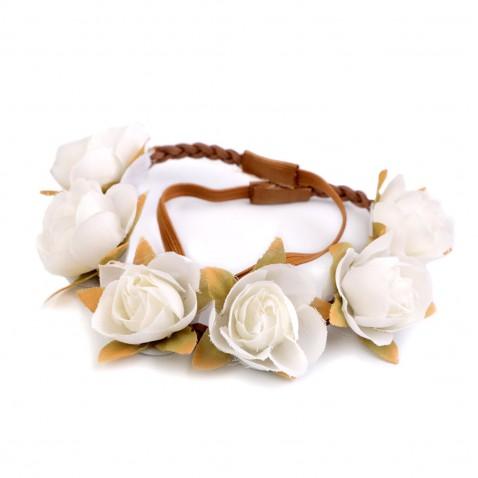 Pružná čelenka s kvetmi - biela