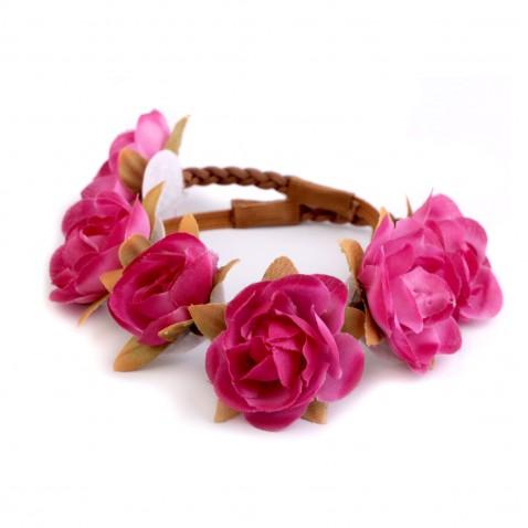 Pružná čelenka s kvetmi - ružová
