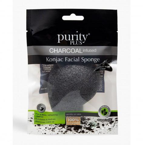 Purity Plus Charcoal odličovacia hubka Konjac s aktívnym uhlím