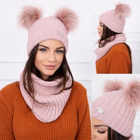 Dámska sada čiapky a nákrčníku - Pink
