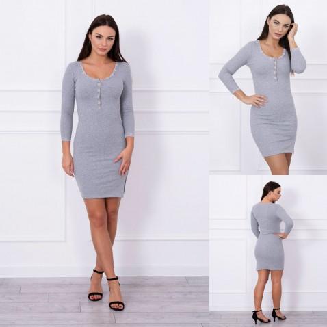 Dámske elastické šaty s čipkou - Gray