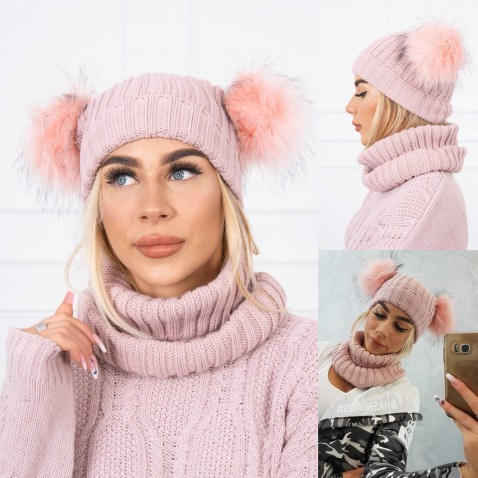 Dámska sada čiapky a nákrčníku Rozie - Pink