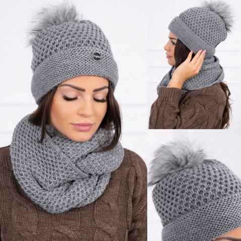 Dámska sada čiapky a nákrčníku Suzan - Dark Gray