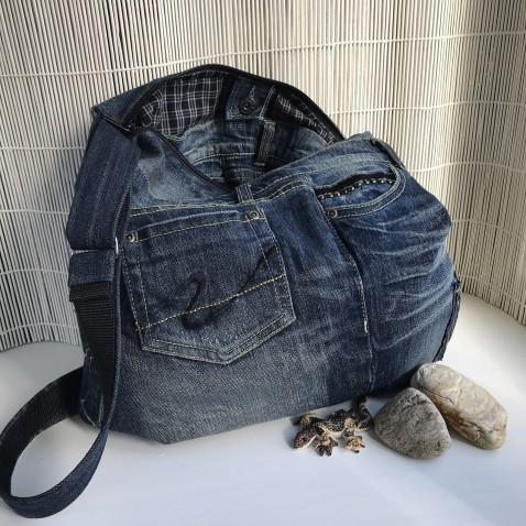 Džínsová kabelka tmavo modrá