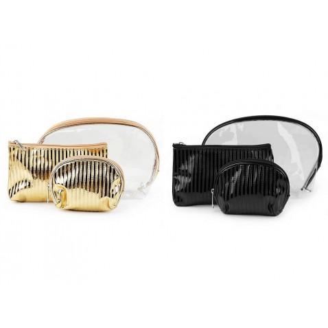 Kozmetická taška priehľadná a metalická, súprava 3 ks