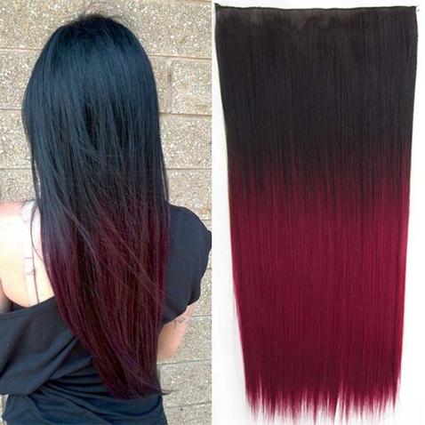 Clip in vlasy - rovný pás - ombre - odtieň 2 T Burg