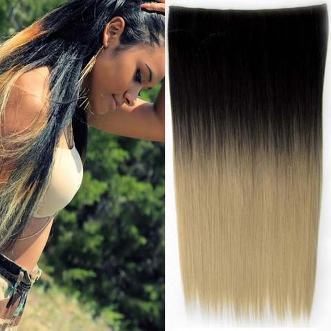 Clip in vlasy - rovný pás - ombre - odtieň Black T 16