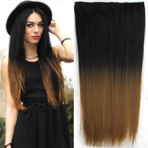 Clip in vlasy - rovný pás - ombre - odtieň Black T 27