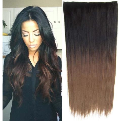 Clip in vlasy - rovný pás - ombre - odtieň Black T 8