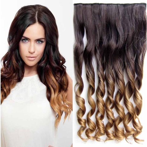 Clip in vlasy - pás, lokne - ombre - odtieň  4 T 27