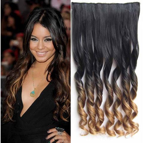 Clip in vlasy - pás, lokne - ombre - odtieň Black T 27