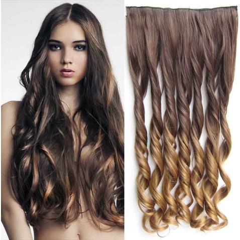 Clip in vlasy - pás, lokne - ombre - odtieň  8 T 27