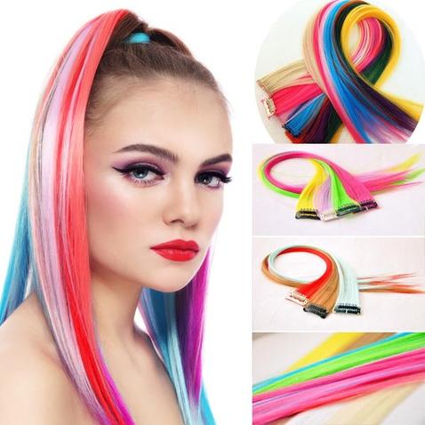 Farebné melírovacie clip in pásky - pastelové farby 48 cm