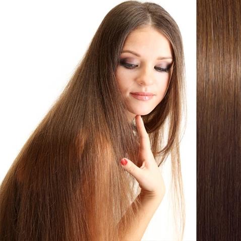 Clip in vlasy ľudské - Remy 105 g - pás vlasov - 8  svetlo hnedá