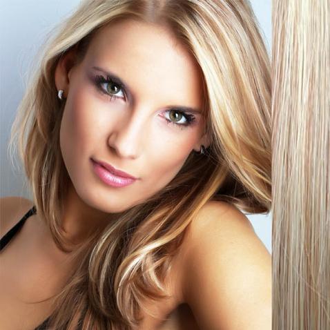Clip in vlasy ľudské - Remy 105 g - pás vlasov - 27/613 - mix blond