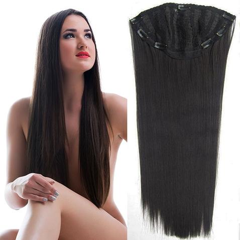 Clip in pás - Jessica 65 cm rovný  - 2 - čiernohnedý
