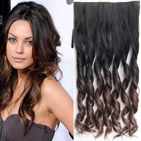 Clip in vlasy - pás, lokne - ombre - odtieň  1B T 8