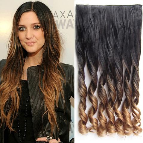 Clip in vlasy - pás, lokne - ombre - odtieň 2 T 27