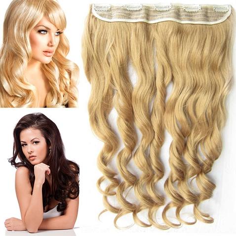 Clip in pás vlasov - lokne 55 cm - odtieň 25 - mandľová