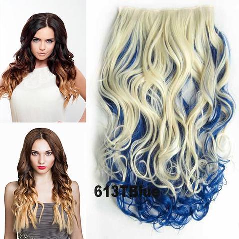 Clip in vlasy - pás, lokne - ombre - odtieň 613 T Blue