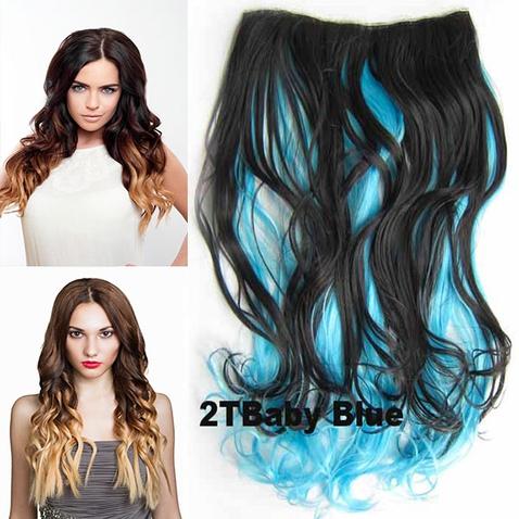 Clip in vlasy - pás, lokne - ombre - odtieň 2 T Baby Blue