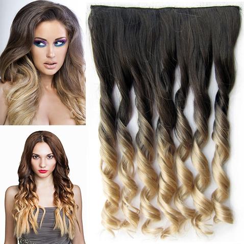 Clip in vlasy - pás, lokne - ombre - odtieň  Black T 16