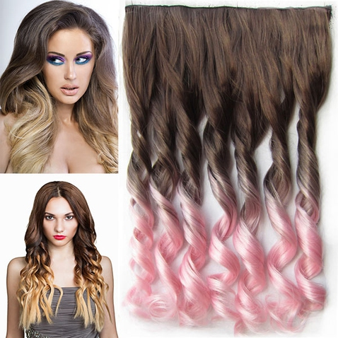 Clip in vlasy - pás, lokne - ombre - odtieň 8 T LightPink
