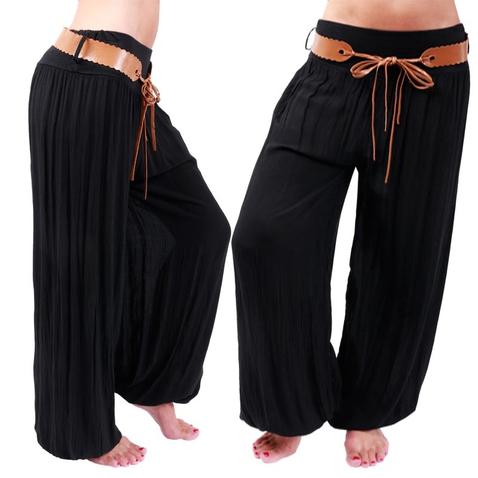 Čierne, ležérne háremové nohavice s hnedým opaskom