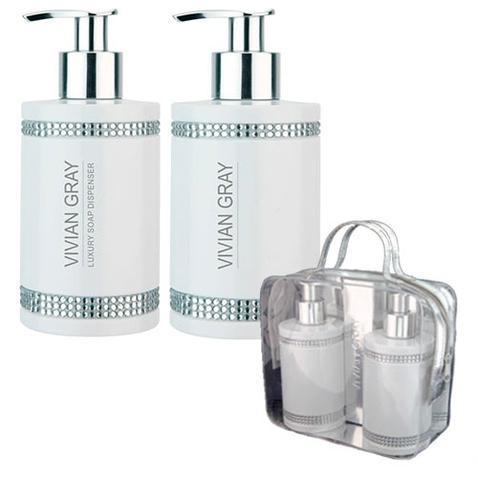 Darčeková sada VIVIAN GRAY CRYSTALS WHITE - tekuté mydlo + telové mlieko 250 ml