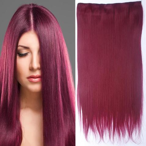 Clip in vlasy - 60 cm dlhý pás vlasov - odtieň BURG