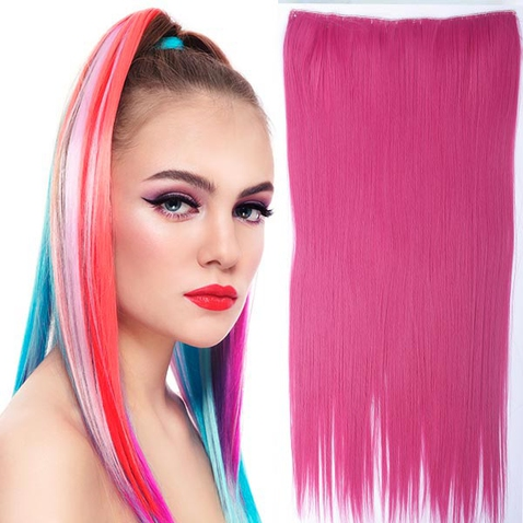 Clip in vlasy - 60 cm dlhý pás vlasov - ružová peach pink