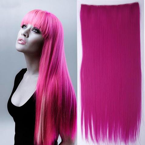 Clip in vlasy - 60 cm dlhý pás vlasov - ružová rose pink