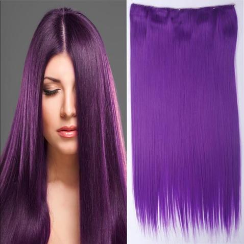 Clip in vlasy - 60 cm dlhý pás vlasov - purpurová