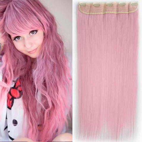 Clip in vlasy - 60 cm dlhý pás vlasov - svetlo ružová