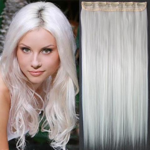 Clip in vlasy - 60 cm dlhý pás vlasov - snehovo biela