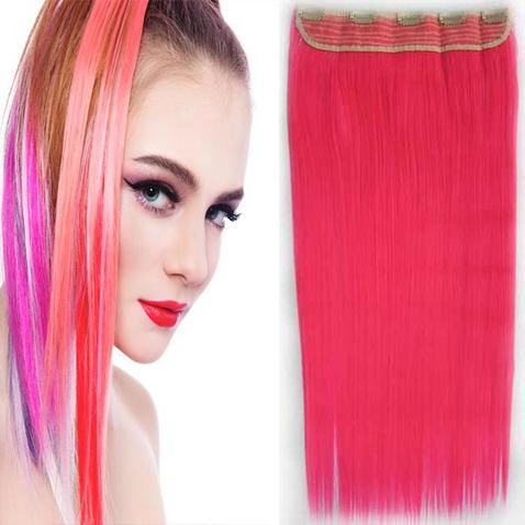 Clip in vlasy - 60 cm dlhý pás vlasov - odtieň ružová pink