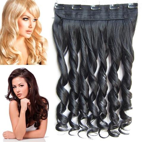 Clip in pás vlasov - lokne 55 cm - odtieň 1B - čierna