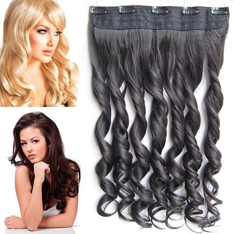 Clip in pás vlasov - lokne 55 cm - odtieň 2 - čiernohnedá