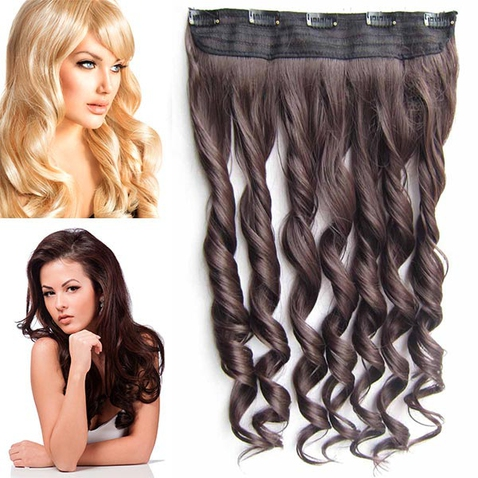 Clip in pás vlasov - lokne 55 cm - odtieň 4 - tmavo hnedá