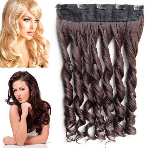 Clip in pás vlasov - lokne 55 cm - odtieň 2/33 - hnedá
