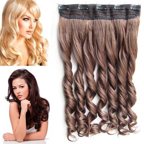 Clip in pás vlasov - lokne 55 cm - odtieň 4/30 - hnedý mix