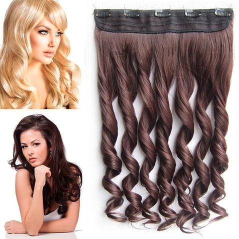 Clip in pás vlasov - lokne 55 cm - odtieň 4/33 - tmavo hnedý mix
