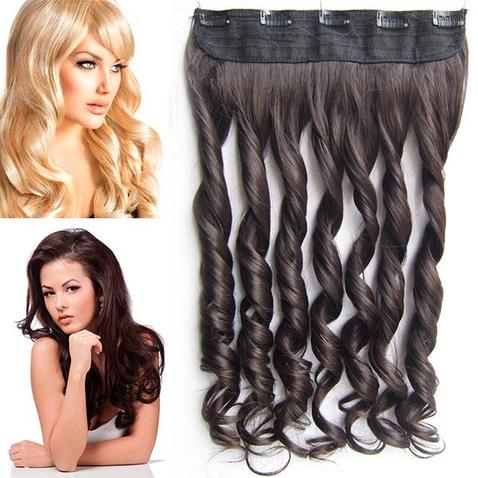 Clip in pás vlasov - lokne 55 cm - odtieň 6 - hnedá